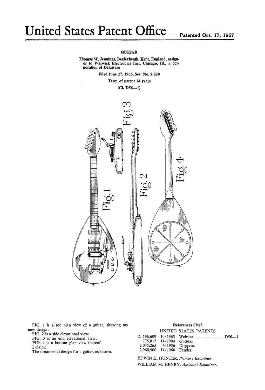 Jennings Guitar Drawing Guitar Patent Drawing
