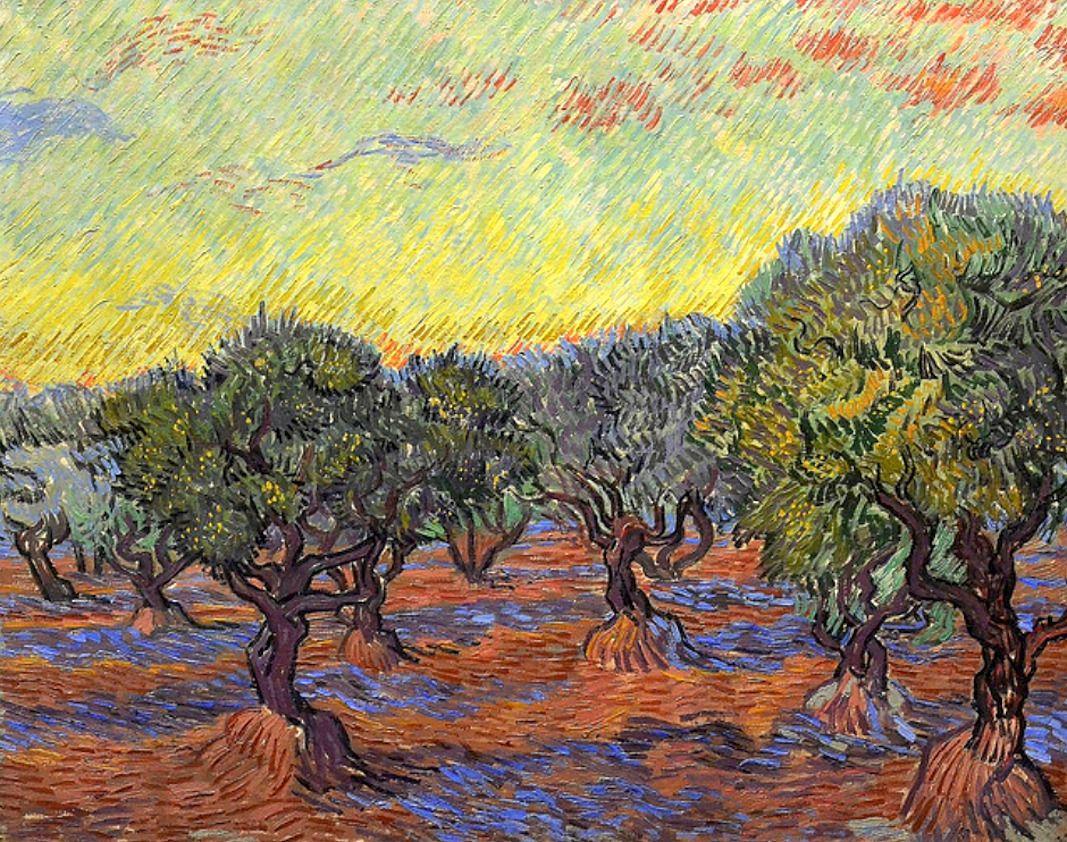 Vincent Van Gogh Olive grove orange sky 1889 Van gogh