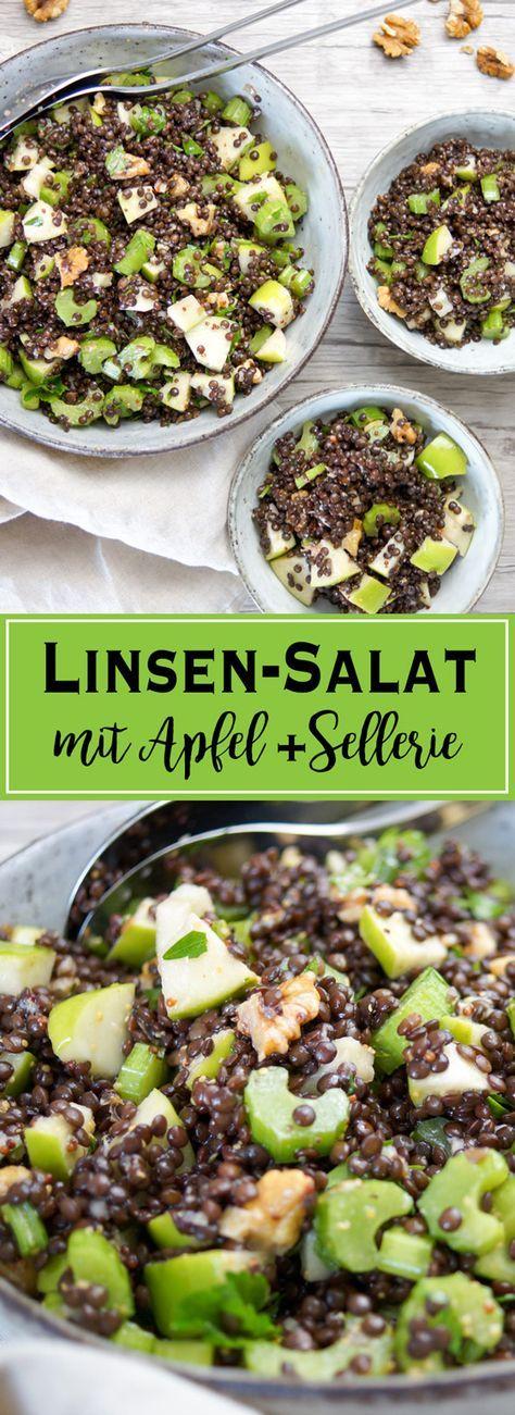 Apfel-Sellerie-Linsen-Salat mit Walnuss und Petersilie