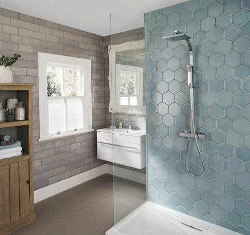 Bathroom Tiles Johnson johnson tiles savoy leaf gloss hexagon tile - 173x150mm | bathroom