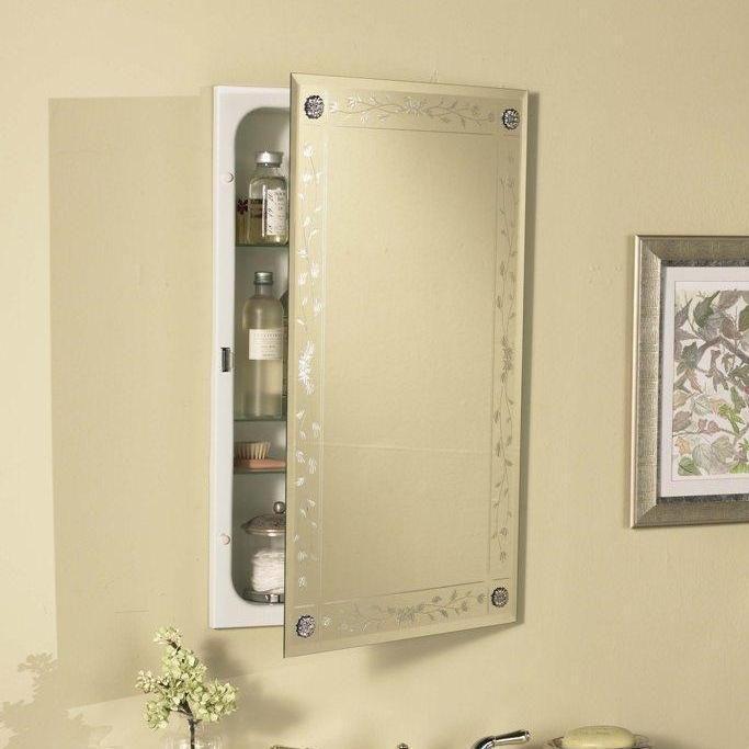 Venetian Engraved Beveled Mirror Bathroom Medicine Cabinet With Rosettes 8211