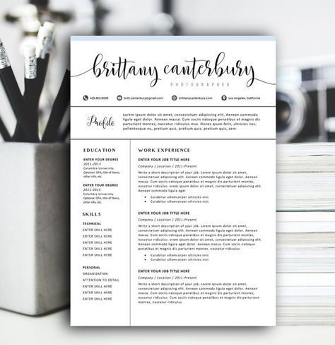 Creative Resume Template, Modern Resume Design for Word 1+2 page
