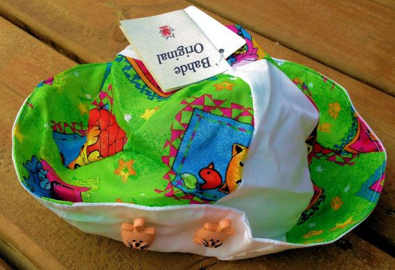 Children's Hat  Handmade Cat Sun Hat for Children  size 9 by Bahde, $15.75