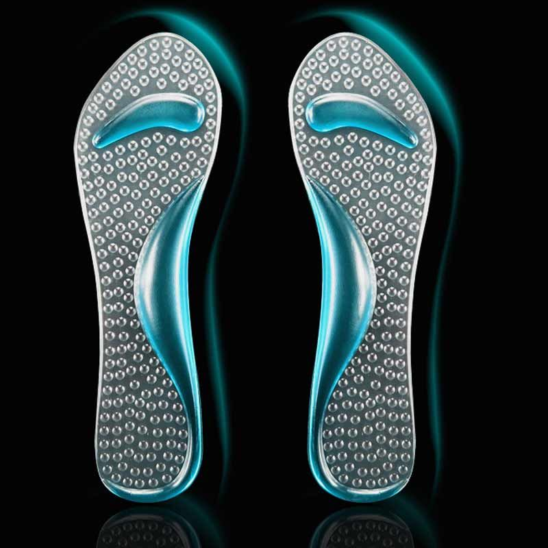 7b692162a0 4Pcs=2Pair Shoes Insole Of Flatfoot Arch Support Cushion Pads Orthopedic  Protector Foot Care Massager Silicone Insoles Gel Pads