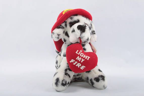Fireman Dalmatian Fire Station Dog With Tag Valentine Plush