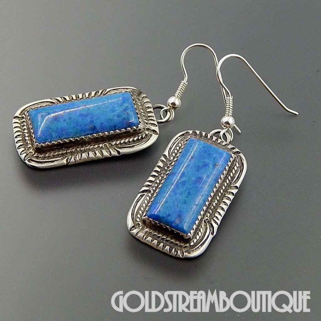 NATIVE AMERICAN RUNNING BEAR SHOP STERLING SILVER DENIM LAPIS LAZULI SOUTHWESTERN HOOK EARRINGS