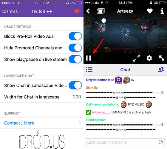 Twitch Jailbreak Tweak Brings Useful Features To The Official Twitch App Idevice And Android News Twitch App Twitch Video Ads