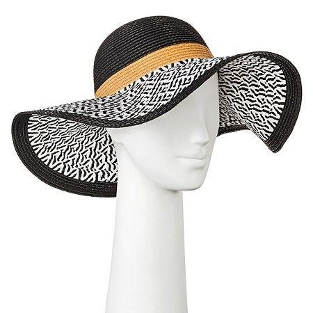 Women's Floppy Hat Black and White with Brown Stripe - Merona™