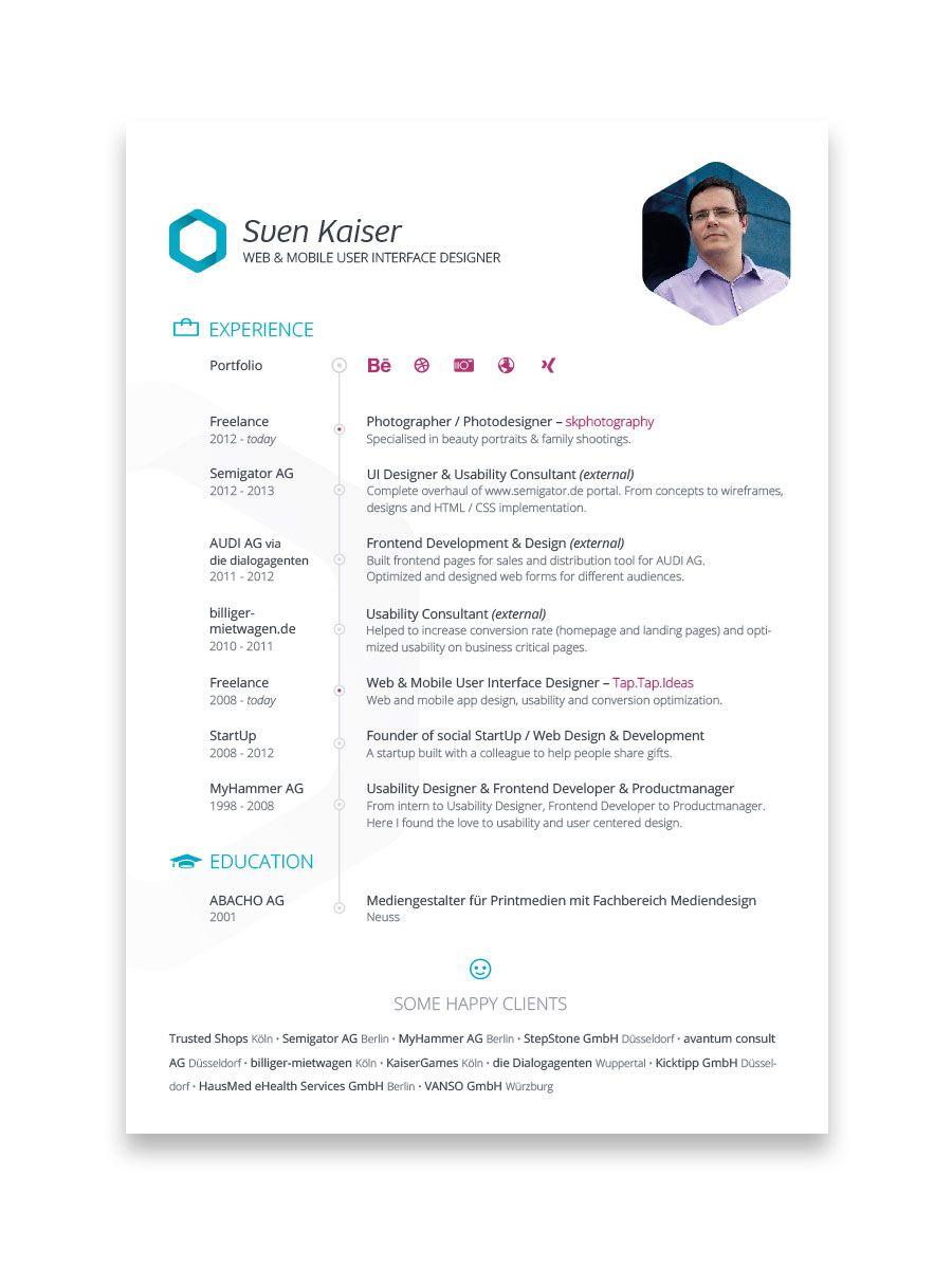 Resume Design Of Sven Kaiser Resume Design Resume Design Creative Creative Resume
