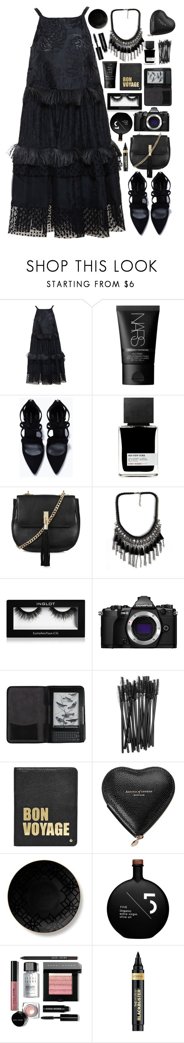 """Bon Voyage"" by mplusk ❤ liked on Polyvore featuring Rochas, NARS Cosmetics, Zara, MiN New York, Topshop, Olympus, Cole Haan, MAC Cosmetics, Hayden-Harnett and Aspinal of London"