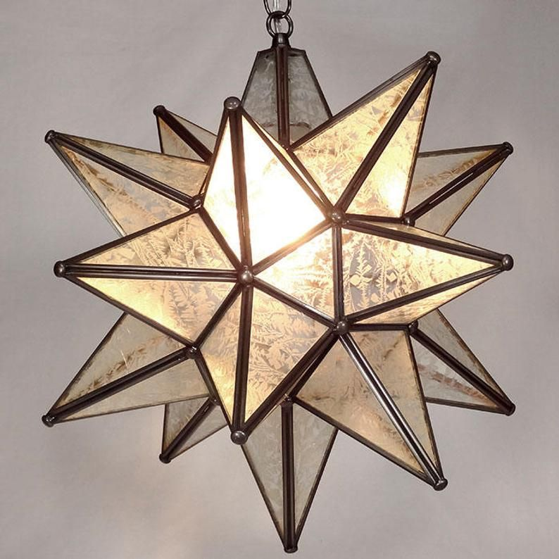 Moravian Star Pendant Light Glue Chip Glass Dark Frame ...