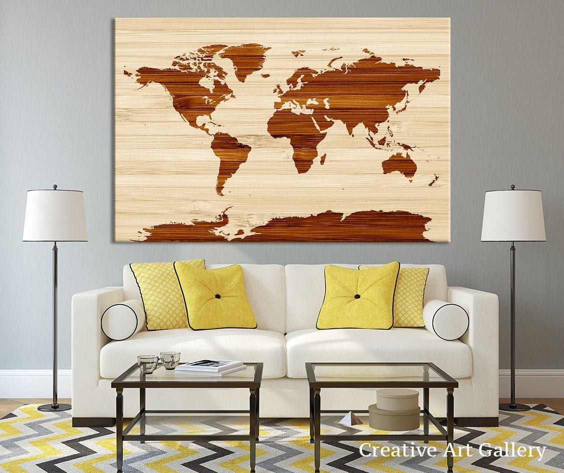 Wooden effect world map canvas wall art rustic canvas art print home decor