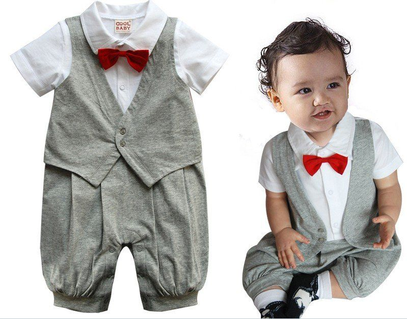 Baby Boy Formal Wedding Tuxedo with Bow Romper Onesie Suit Baby Boy ...