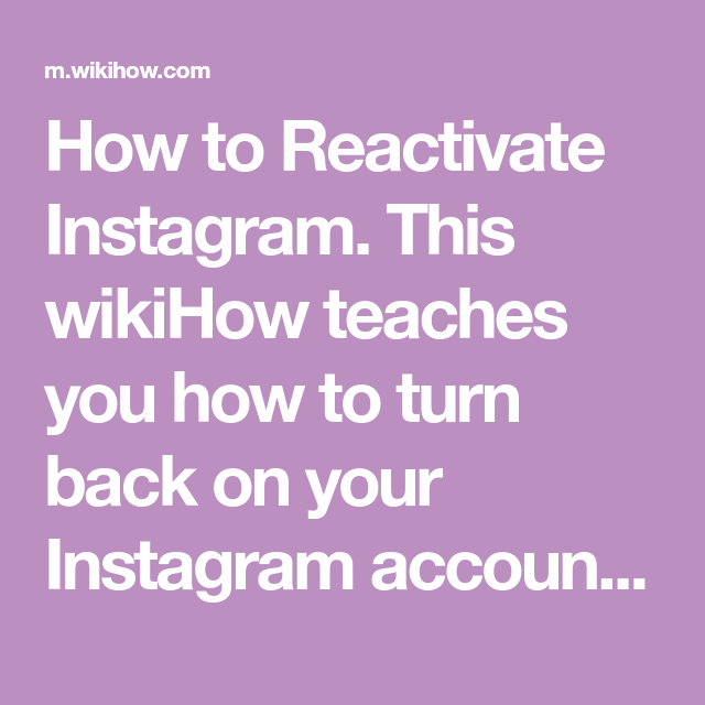 Reactivate Instagram | Namra | Instagram, Instagram accounts