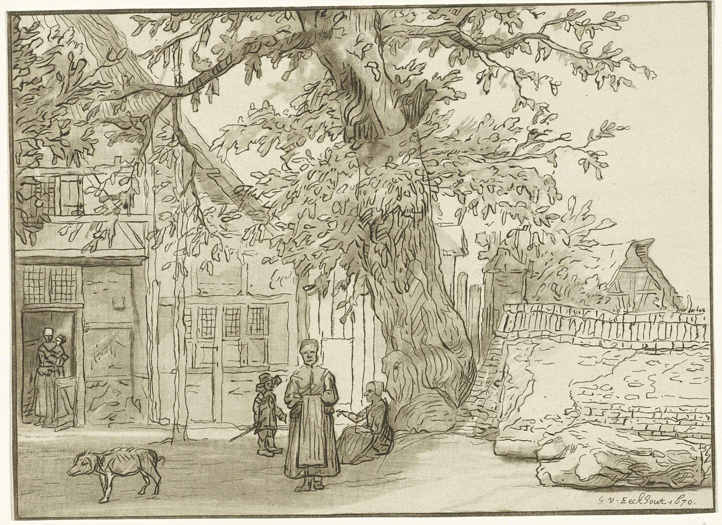 Cornelis Ploos van Amstel   Herberg te Anrath, Cornelis Ploos van Amstel, Lambert Doomer, 1759 - 1760   Herberg 'Zur blauen Hand am Kirchhof' te Anrath. In de deuropening een vrouw met kind op de arm. Naast de herberg een grote boom en enkele figuren daaronder. Links een varken.