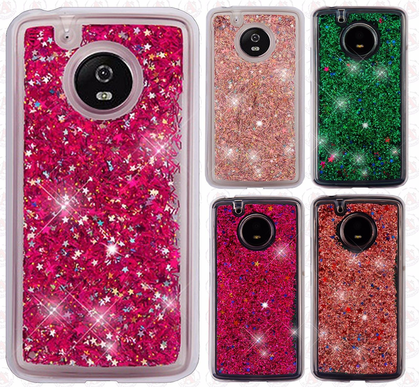 half off 48ed2 4eaea Details about For Motorola Moto E4 Liquid Glitter Quicksand Hard ...
