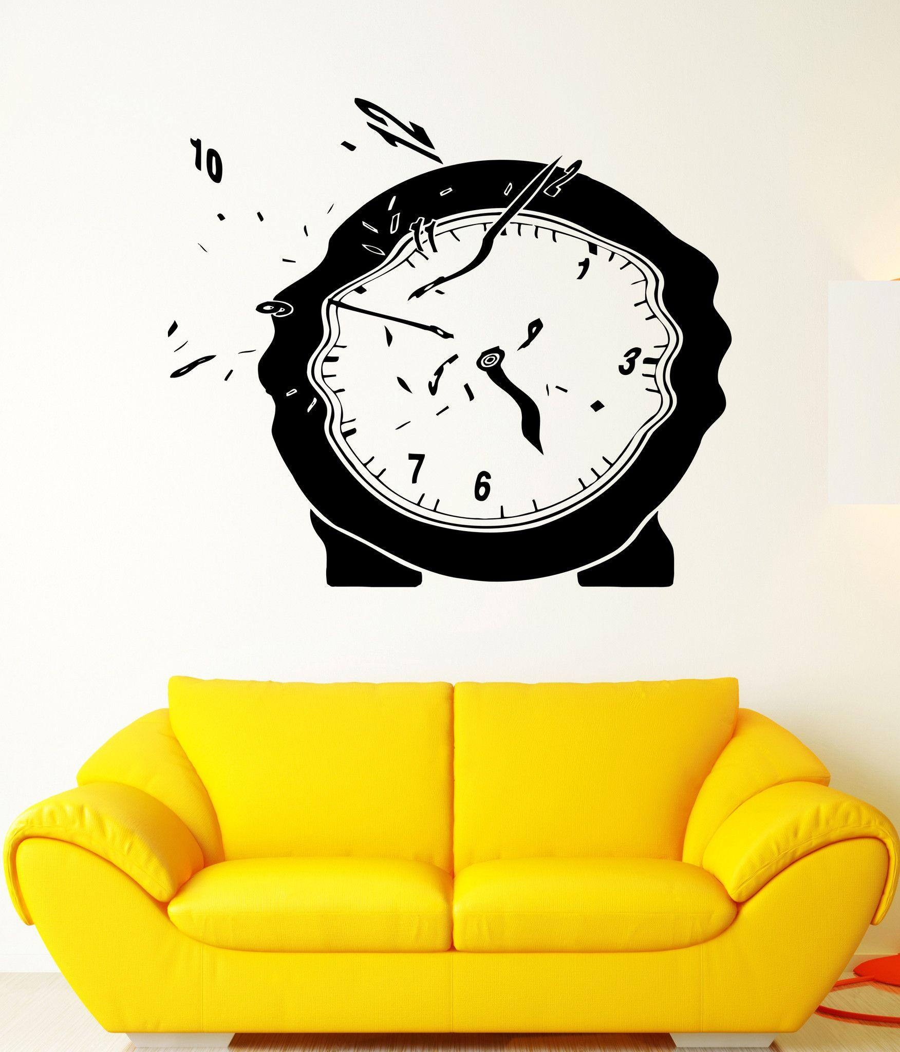 Wall Vinyl Sticker Decal Clock Time Flies Melts Arrows Surrealism Dial (ed418)