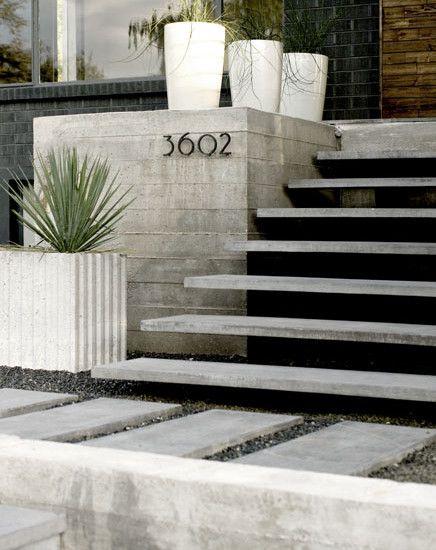 Modern Front Steps Design Pictures Remodel Decor And Ideas | House Main Entrance Steps Design | Half Round | Landscape | Outside | Garden | Front Construction Area House