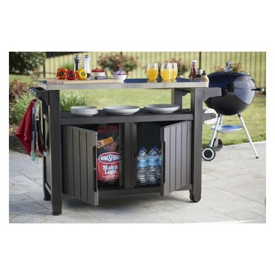 Xl Unity Outdoor Patio Prep Station With Storage Brown Keter Bbq Table Outdoor Serving Cart Patio Storage