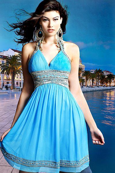 9a631b2b9f Scala Turquoise Short Semi-Formal Dress N7013