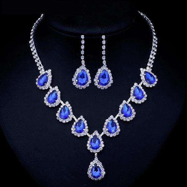 Blue Teardrop Crystal Jewelry Sets