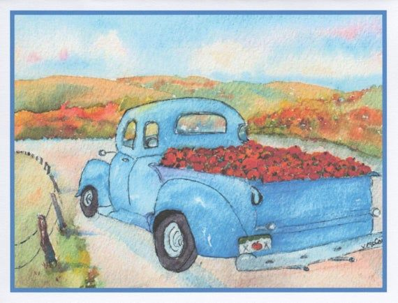 Old Blue Truck Card.  Autumn scene with pumpkins in truck.  Watercolor All Occasion Card by StellaJa #autumnscenes