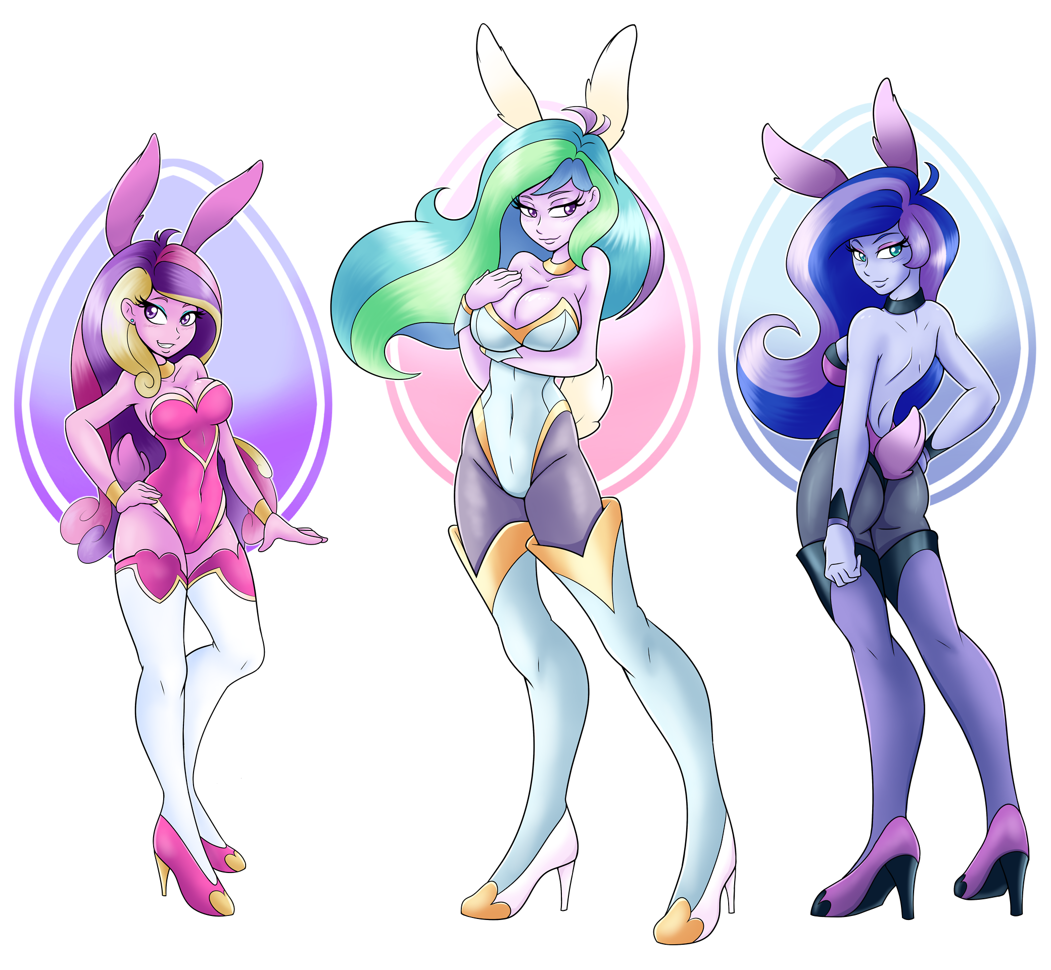 Bunny Girl Suit Busty Princess Cadance Celestia Luna Cleavage Clothes Equestria Girls Female Females Only