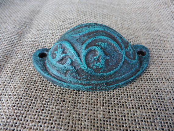 Rustic Cast Iron Distressed Aqua Patina Teal Cup Handle Drawer
