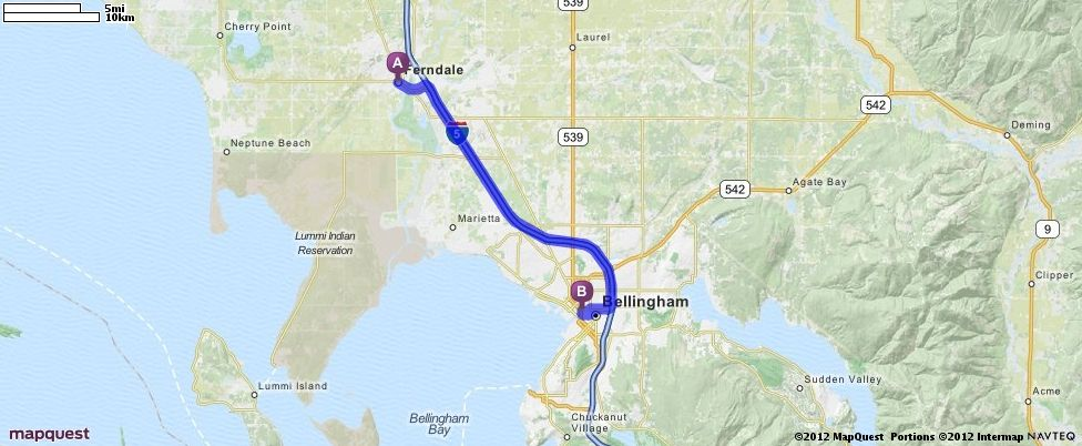 Driving Directions from Ferndale, Washington to Bellingham, Washington 98227 | MapQuest