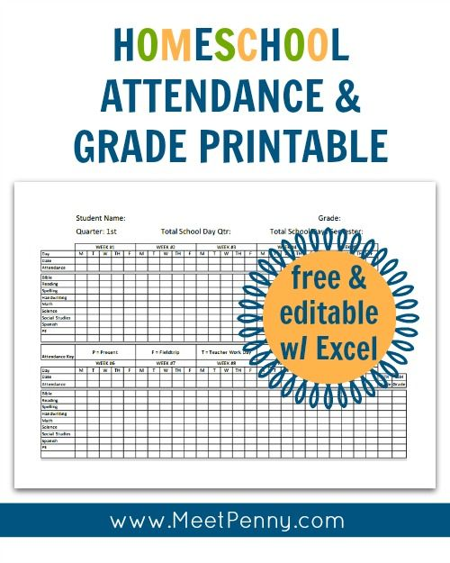 Homeschool Attendance and Grades Printable Printable - monthly attendance sheet template excel