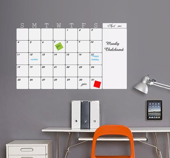 whiteboard for home office. Monthly White Board Wall Calendar Vinyl Decal Organize Your Office, Home And Family Plans Whiteboard For Office A