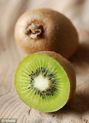 bloated after a meal? Grab a kiwi: Fruit contains compound tha Feeling bloated after a meal? Grab a kiwi: Fruit contains compound that helps digest red meat, dairy and fish. Faster digestion of food proteins occurs due to presence of unique  enzyme present only in kiwi fruit. As well as aiding digestion, kiwi fruit has more vitamin C than the