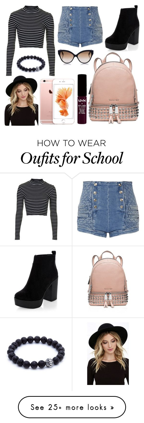 """""""School Day"""" by susanna-trad on Polyvore featuring Topshop, Pierre Balmain, MICHAEL Michael Kors, RHYTHM, Cutler and Gross and NYX"""
