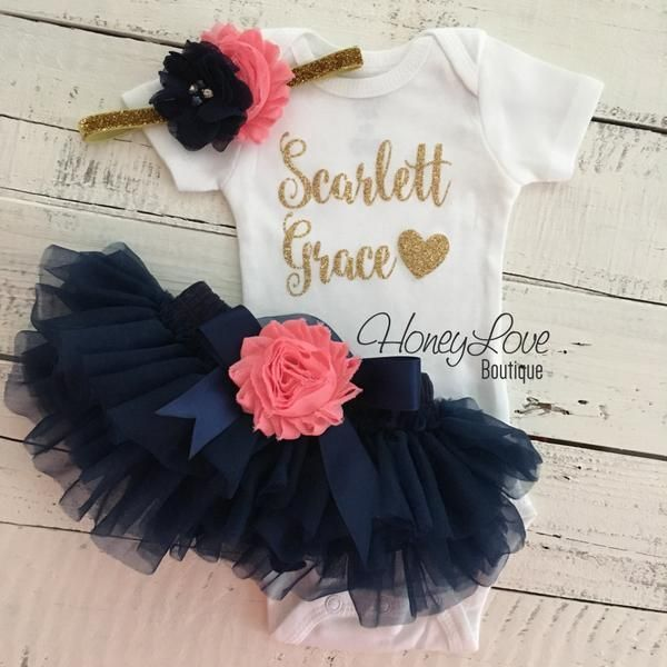 c63f358a62 PERSONALIZED gold glitter bodysuit navy blue and coral pink embellished  flower tutu skirt bloomer newborn toddler baby girl take home outfit coming  home ...