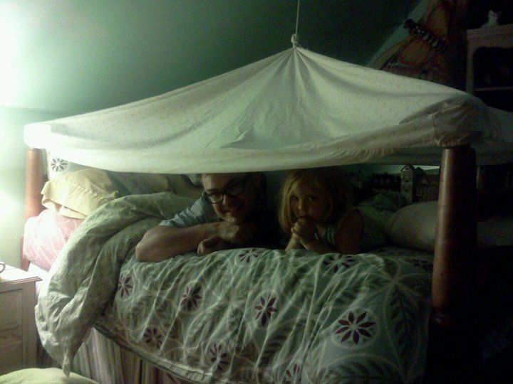 1 fitted sheet (secured over bed posts) 1 eye bolt string connecting center of sheet with boltu003d 1 very cool sheet fort tent AND 1 lucky little girl! & 1 fitted sheet (secured over bed posts)+1 eye bolt+ string ...