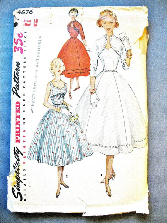 1950s Simplicity 4676 Vintage Sewing Pattern by Fancywork on Etsy ...