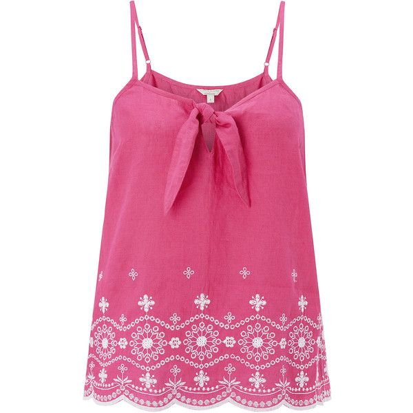 37c6508bec4cf Monsoon Clara Linen Cutwork Cami Top (785 ZAR) ❤ liked on Polyvore  featuring tops, shirts, linen shirts, cami tank, pink top, pink tank and  embroidered top