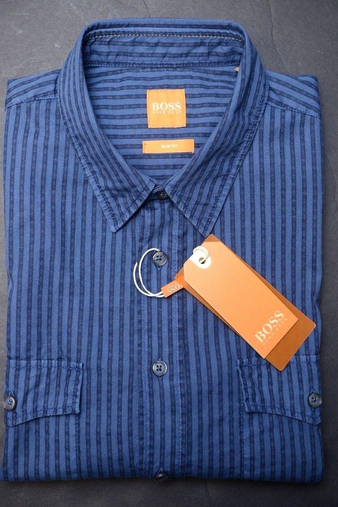 0494dfa3 NWT Hugo Boss Men's EdaslimE Slim Fit Med Blue Striped Cotton Casual Shirt  L #fashion