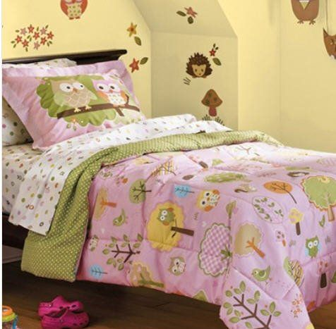 Pink Green Yellow Hoot Owl Girls Twin Single Comforter Set, 5 Piece Bed In  A Bag In Home U0026 Garden, Bedding, Bed In A Bag