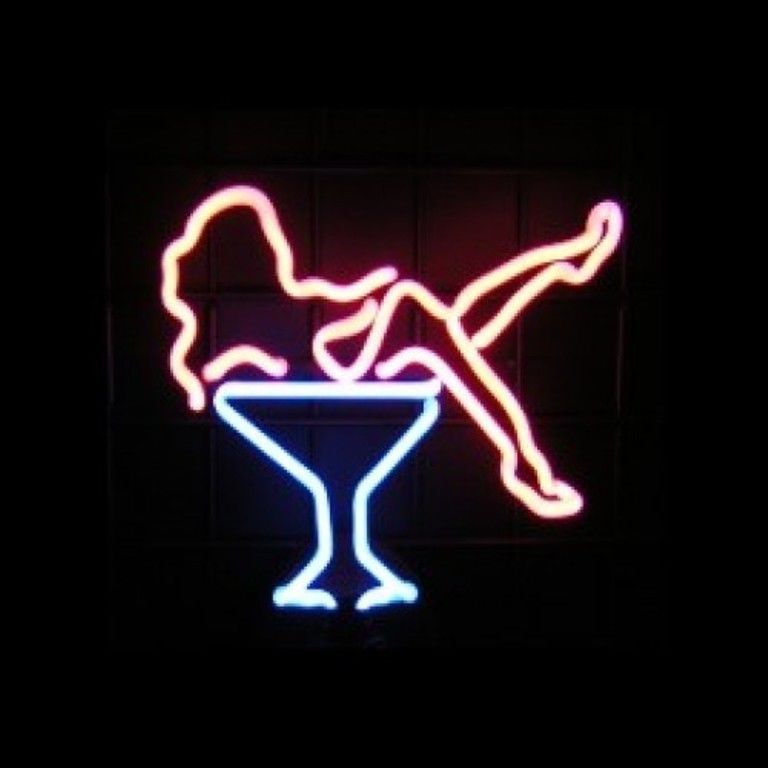 Martini Girl Neon Light Bar Sign For Man Cave Pub Wall Or Tabletop