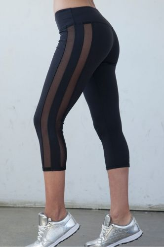 e14af59c3e507 Tuxedo Double Mesh Capri - Black from Nina B Roze. High Waisted Black Yoga  Pants with Mesh Black capris are perfect for all body shapes especially  with our ...