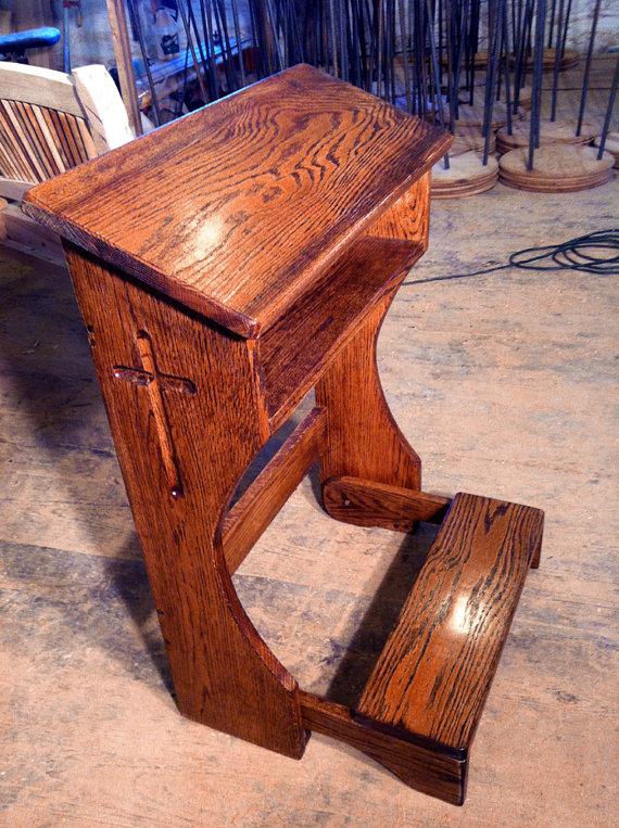 Folding Prayer Kneeler or Prie-Dieu from Reclaimed Oak