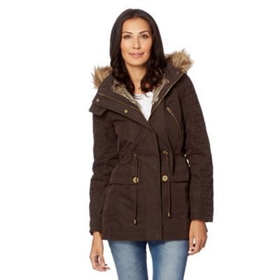 latest design discount sale exclusive deals Mantaray Chocolate quilted embroidered sleeve parka coat- at ...