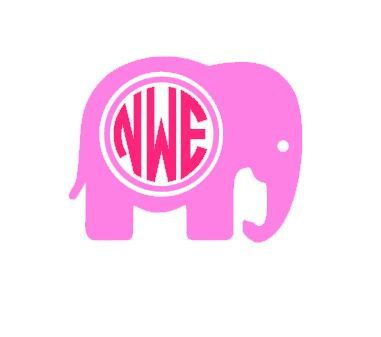 this elephant monogram template is an instant digital download file