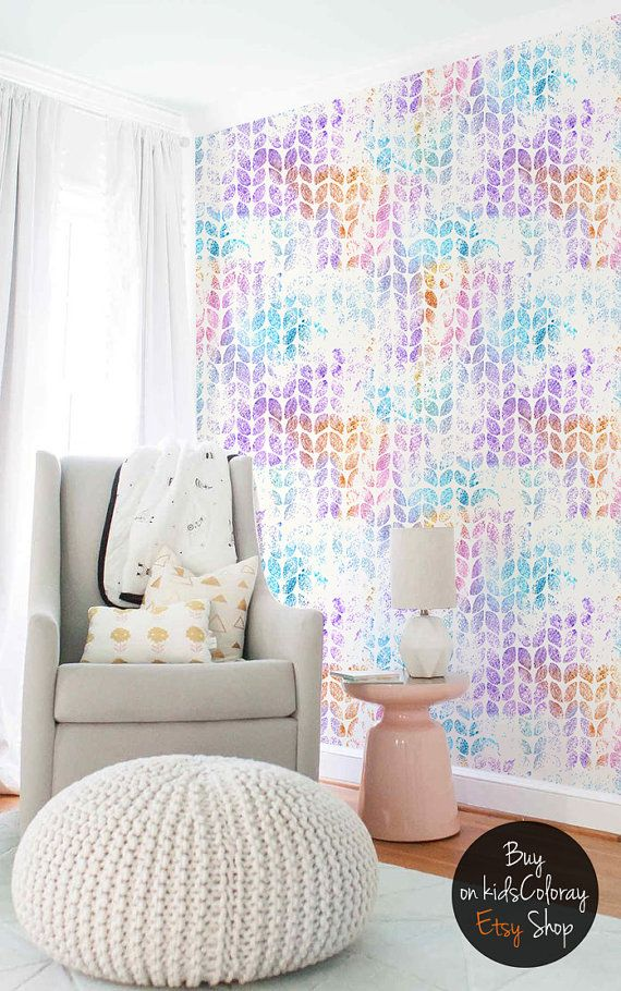 Glitter leaves pattern Colorful nursery wallpaper Vibrant wall