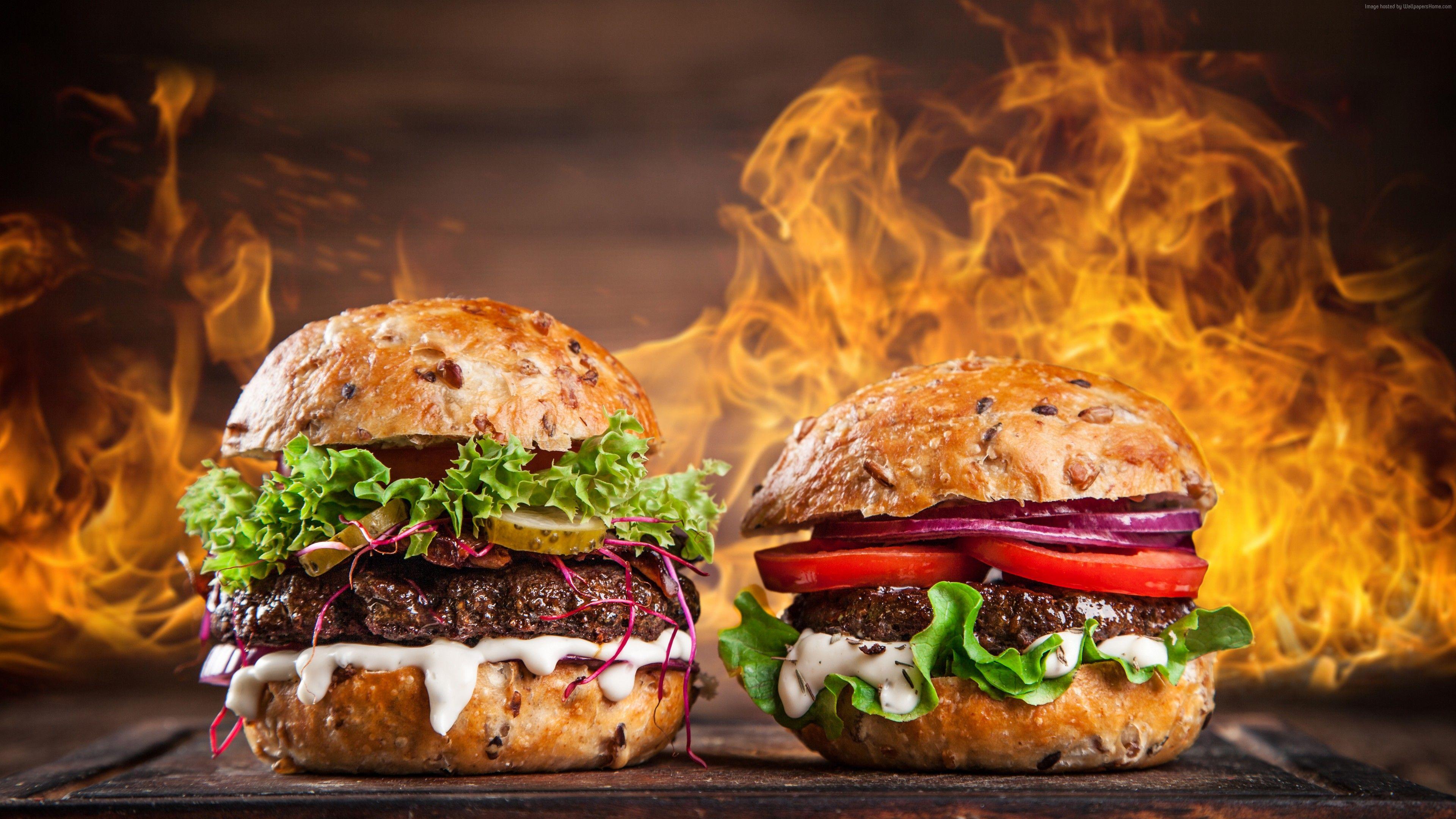 Wallpaper Burger Steak Fire 5k Food Com Imagens Hamburguer