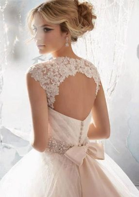 Beautiful Bead Embellished Lace Wedding Dress Open Back Crystal Detailing Bow In The