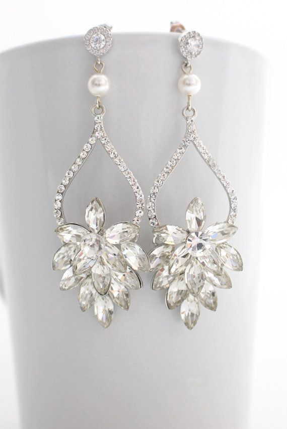 Clear Crystal Chandelier Bridal Earrings By Estylo Jewelry
