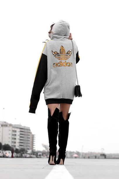 Top: tumblr adidas sweatshirt dress sweatshirt boots black boots high heels  boots over the knee