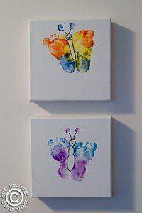 Bilder für babyzimmer auf leinwand selber malen  Super süße Idee fürs Kinderzimmer! Einfach Babys bunten Fußabdruck ...